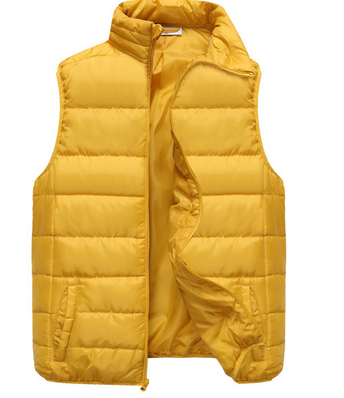 2015 western women fashion yellow shiny printed puffy duck down vest