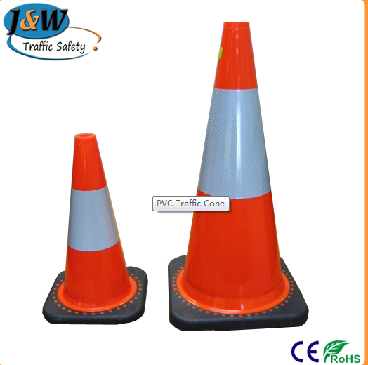 Flexible PVC Traffic Cone with Black Base