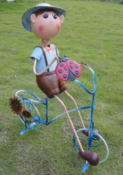 China Metal Doll Garden Metal Bicycle Garden Decoration Plant Pot
