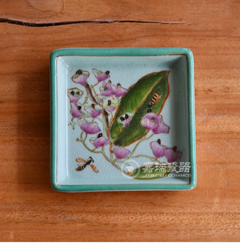 decorative ceramic Square flower plate factory