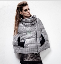 High fashion light down cape print jacket woman's down jacket