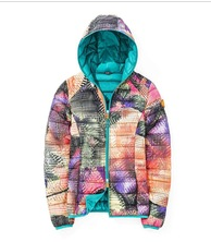 Light weight jacket with a full zip hoody sporty print women's down effect polyfill jacket