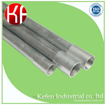 round galvanized pipe, steel conduit for electric cable, wire protection gi tube