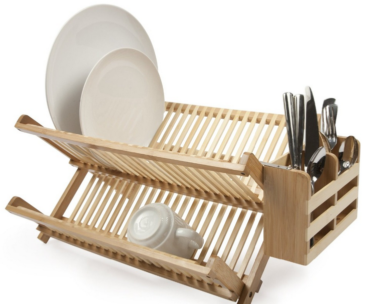 Eco-friendly bamboo dish rack solid bamboo fold plate dry dish rack wiht utensils holder wholesale