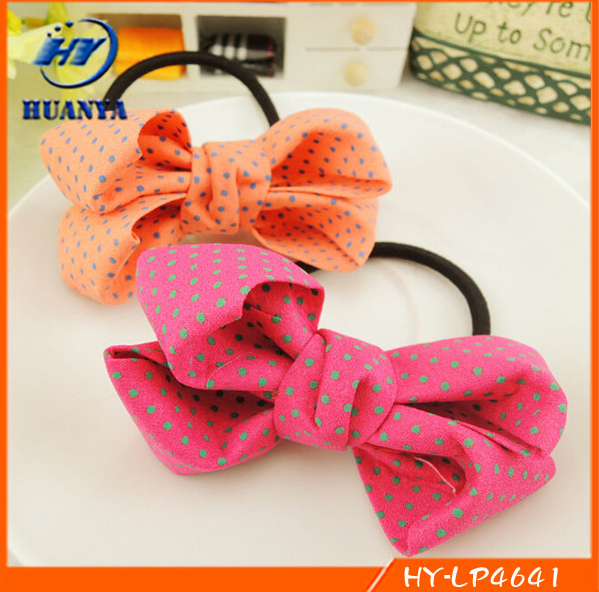 2015 Korean Hair Suede Leather Feeling Bow Rubber Band hair ring headdress
