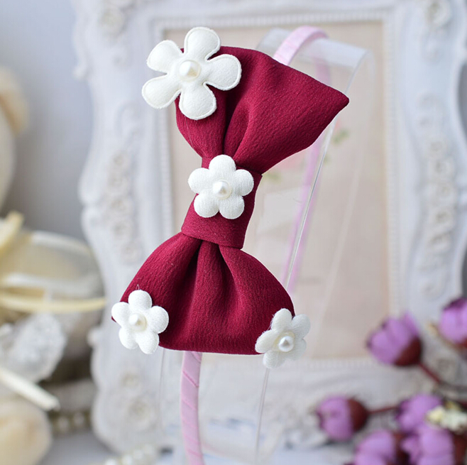 boutique women lady girls satin ribbon hair bow satin headband