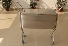 Stainless steel rolling beverage cooler cart with holder