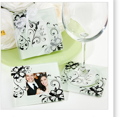 Factory price clear glass coasters with photo inserts