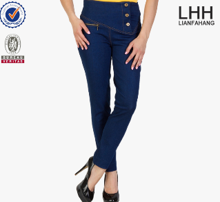 Hot sales popular blue high waisted d jeans for women