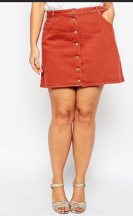 Burning clouds red color high waist line button regular fit mini denim skirt