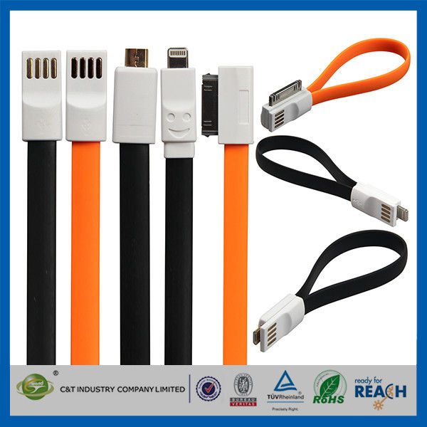 Flat Magnetic Premium Data Cell Phone USB Cable , IOS8 USB Data Line