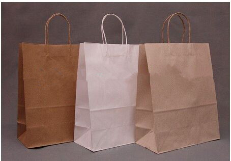 Natural machine made kraft shopping bags