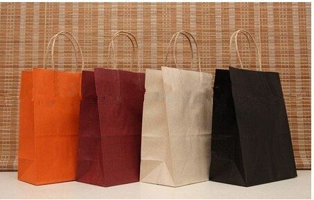 Full color printed kraft bags,twisted handle paper bags