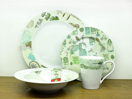 Decorated Ceramic Dinnerware Sets with Urbrural idyllic Design