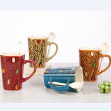 Wholesale Ceramic Mugs Ceramic Mug with a Spoon