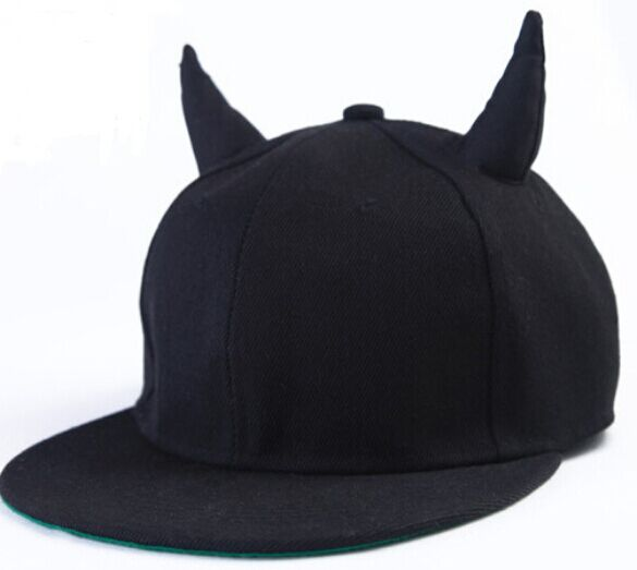Popular black baseball caps and hats with horn
