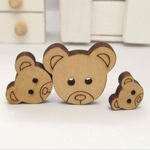 Bear head - 2 holes wood button