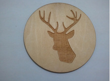 Deer head wood laser drink coaster