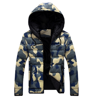 The new winter coat. Lovers' clothes.Camouflage coat