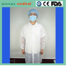 White Disposable Visitor Lab Coat hygiene Non Woven velcro Fastening