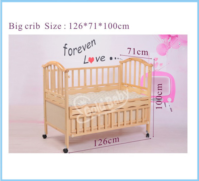 Pine wood baby cot bed with small cradle inside