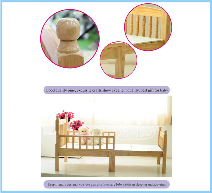 Natural NZ Pine Toddler Bed Bed Frame Extensible