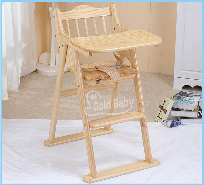 Folded wooden baby feeding highchair
