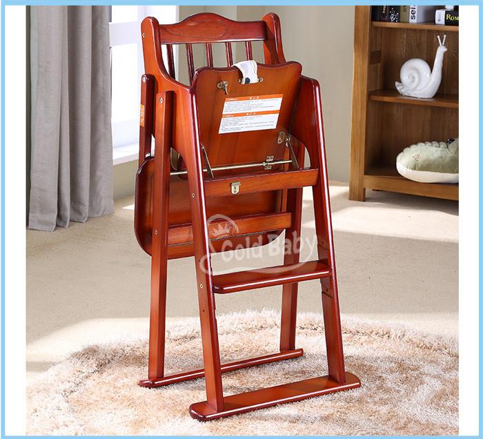 Folded wooden baby feeding highchair