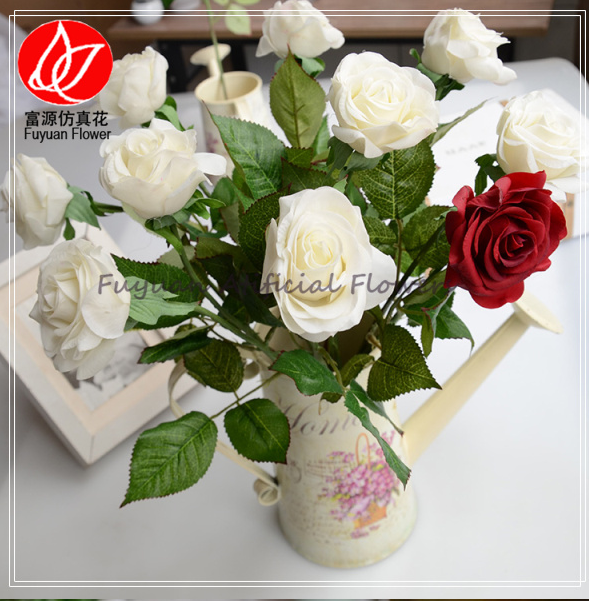 150820 factory direct sale cheap best sell artificial real touch five rose flower