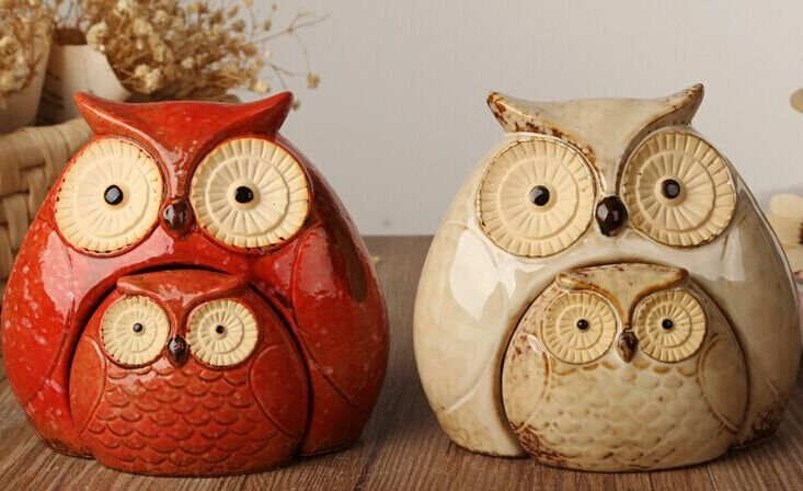 The new ceramic products variable glaze animal home deco creative combination owl