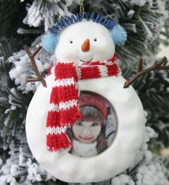Cute snowman tree ornaments decorated baby photo frame exquisite small Christmas gift
