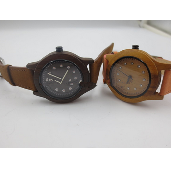 bamboo watches classic and popular quartz men&women wooden watch leather strap