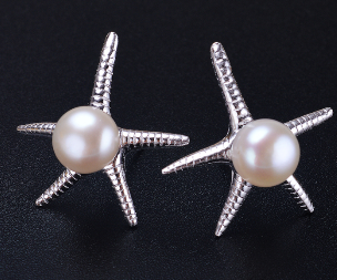Silver 7-8mm freshwater love pearl earring designs,wedding pearl jewelry