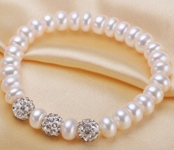 Elastic Rope with crystal beads freshwater pearl bracelet