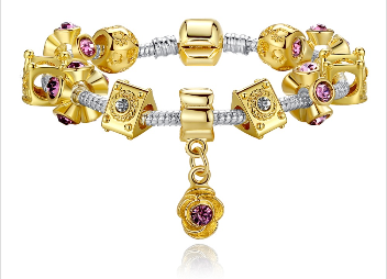 chrismas gift bracelet with crown and crystal bead