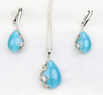 S925 sterling silver cat's eye beads jewelry set 2015