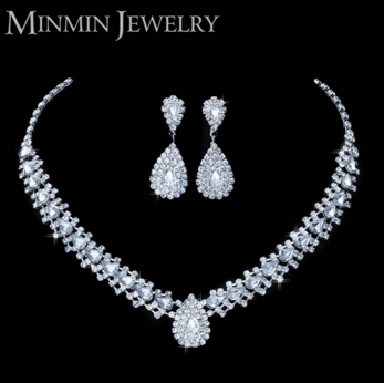 Silver Rhinestone Crystal Wedding Jewelry Bridal Earrings Necklace African Beads Jewelry Set TL001