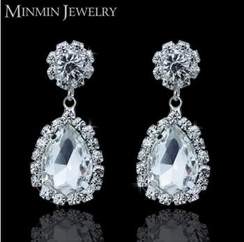 Hot Sale Jewelry Crystal Rhinestone Wedding Water Shape Drop Fashion Earrings Woman EH002
