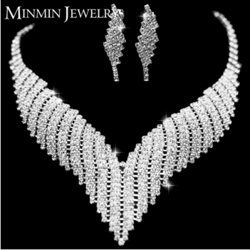 New Design Crystal Silver Plated Wedding Jewelry Including Necklace And Earring Sets TL011