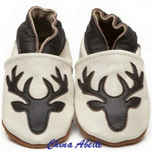 2015 wholesale Baby Shoes with fashion deer newborn Christmas Gifts azo free baby leather soft sole