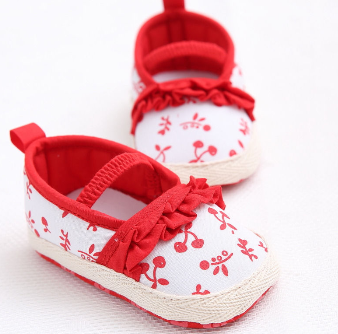 Flower Print Soft Sole Baby Girl Shoes Toddler Infant Prewalker 6-12M 12CM