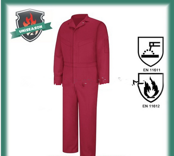 Orange fire resistant coverall for work