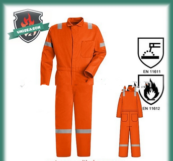 Orange fire and acid resistant coverall