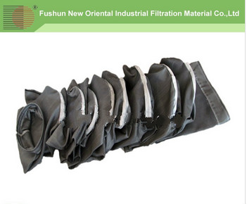 NOF Supplier Black woven Fiberglass dust filter bag with treatment graphit