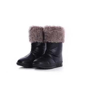 2015 fashion pu+fake fur snow boots