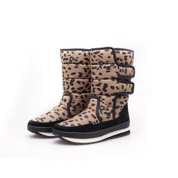 2015 fashion leopard print snow boots