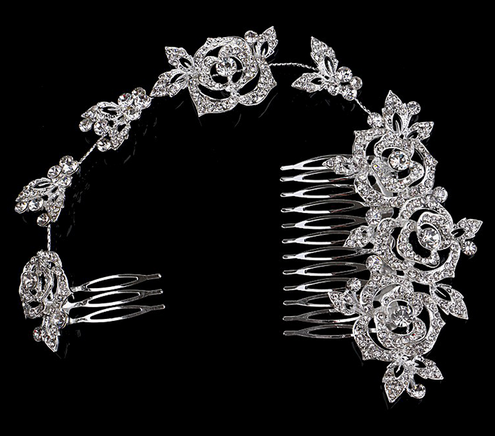 New Rhinestone Princess Wedding Tiara Austrian Crystal Rose Flower Bridal Long Handmade Hair Comb Accessories