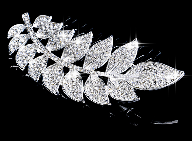 Hot Selling Rhinestone Handmade Leaf Shape Hair Combs Tiara Costume Jewelry