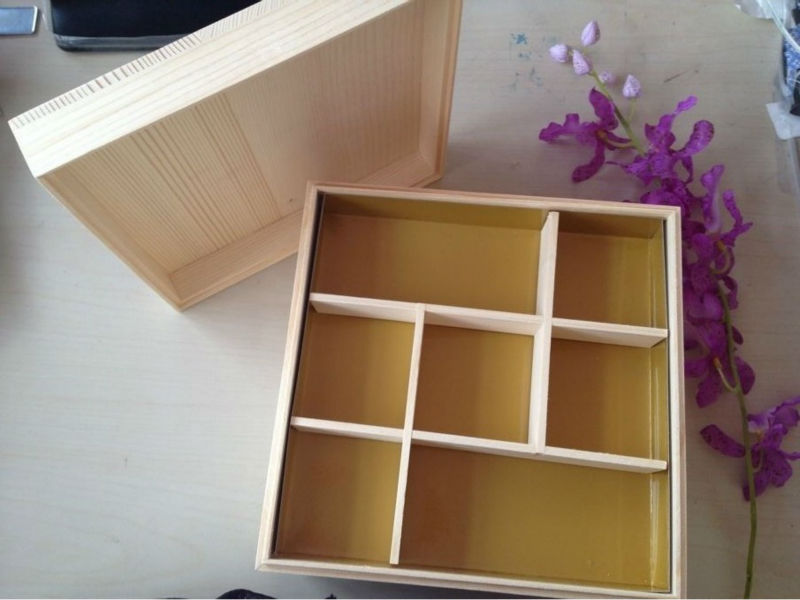 Pine Wood Square Box/Sushi Box