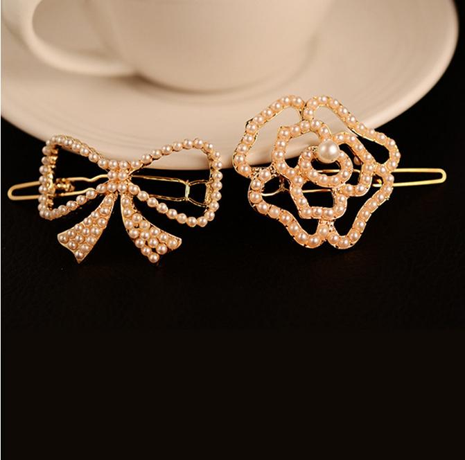 Hot sale 2015 Fashion Pearl Hair Clip Cute Hair Bows Flower Hair Clips Hair Accessories